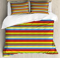 Duvet Cover Set , Rainbow Colored Lines Geometrical Mexican Blanket Pattern Latin American Culture, 4 Piece Bedding Set