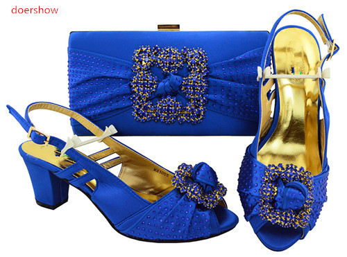 doershow New Arrival royal blue Color Italian Ladies Shoes And Bags Set For Sales In Women Matching Shoes And Bag Set  HVP1-12 free shipping newest shoes matching bags royal blue italian designer shoes and bags ct16 06