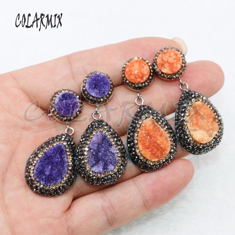 5 Pairs geode druzy earrings drop shape earrings jewelry earrings mix colors wholesale jewelry 4881 in Drop Earrings from Jewelry Accessories