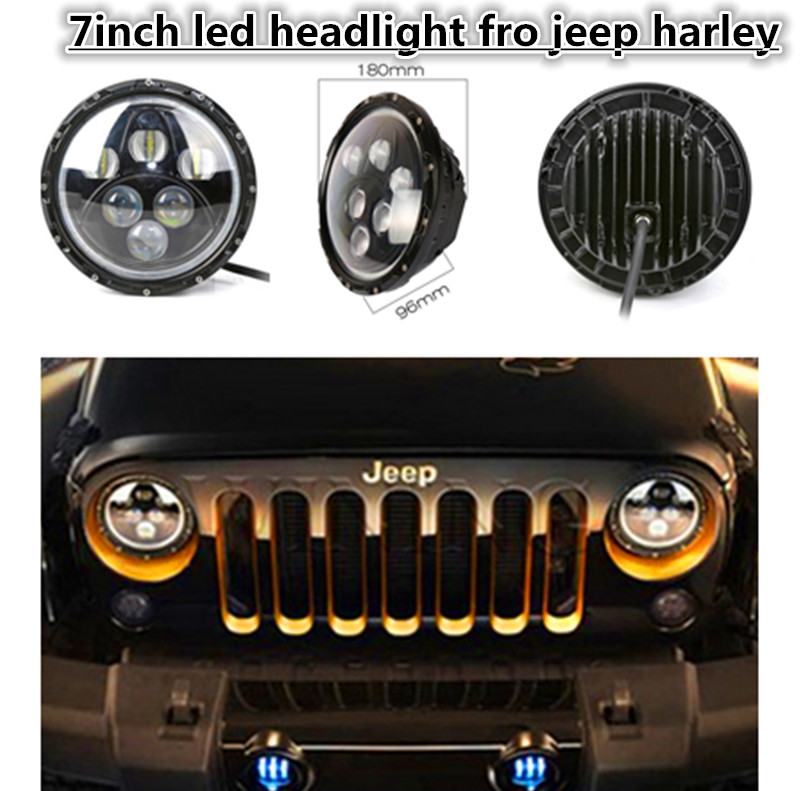 Pair 7 Inch 60W LED Projector Headlight with Full Halo Angel Eyes DRL for Wrangler JK TJ LJ Sahara Rubicon Sport Unlimited demon eyes 12v 35w 7 inch cob halo hid xenon led headlight headlamp with demon eyes drl canbus ballast for jeeep wrangler 07 15
