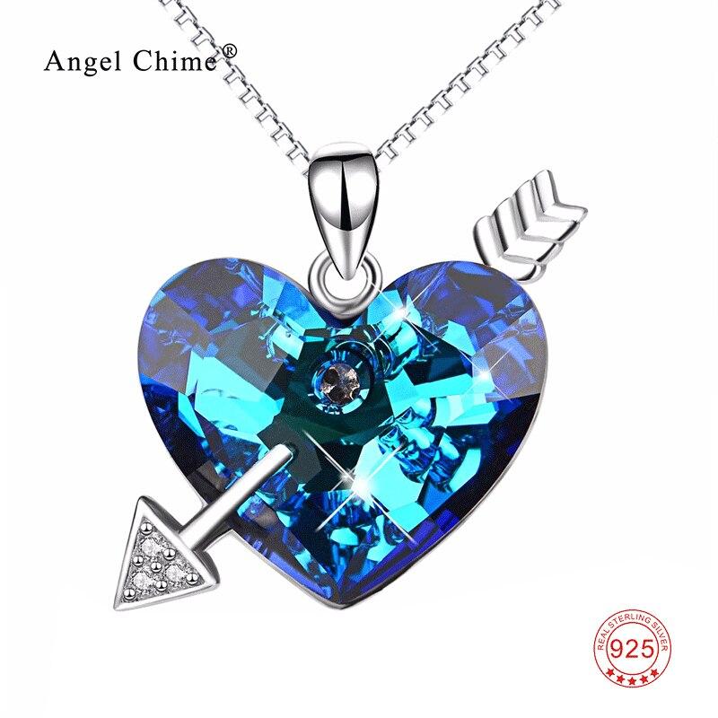 925 collier en argent Sterling coeur bleu de l'océan pendentifs colliers cupidon flèche bijoux de luxe femmes cadeau