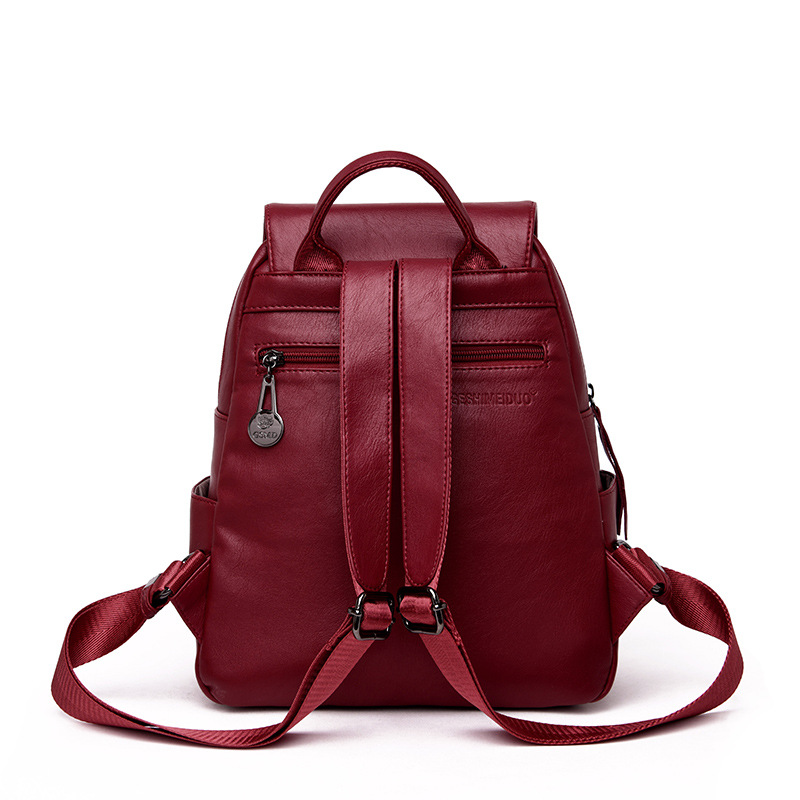 2019 Fashion Women Backpack Female Genuine Leather Backpack Sheepskin Ladies Travel Shoulder Bag Sac A Dos Femme in Backpacks from Luggage Bags