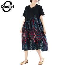 167bd08c580495 Oladivi grande taille vêtements femmes Impression De Mode Été 2019  décontracté bikinis Dame Lâche Coton Lin grande taille Robes .