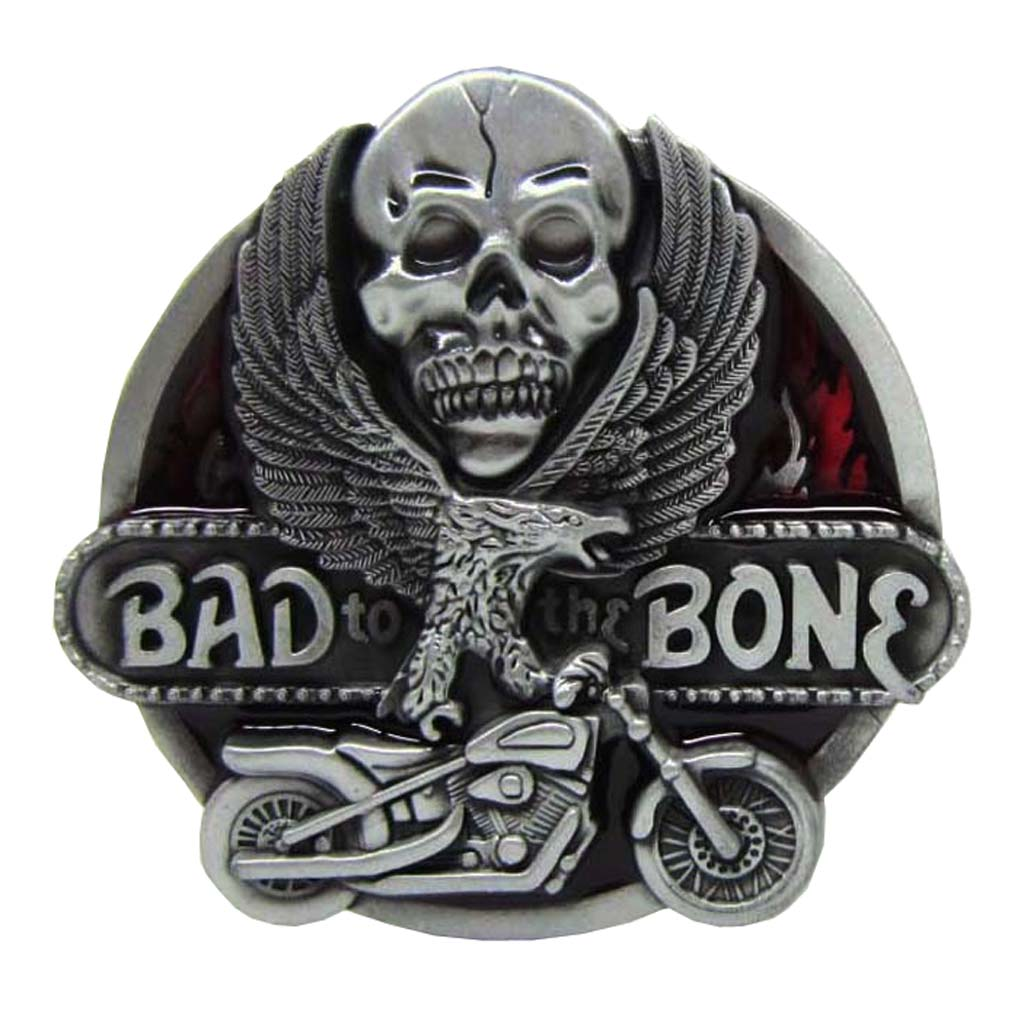 ''Bad To The Bone'' Skull Belt Buckle Flying Eagel Motorcycle Men's Clothing Accessory Metal Belt Buckle Western Cowboy