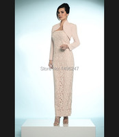 2014 Best Sale Simple Elegant Straight Lace Evening Dresses With Jacket Long Sleeve Steapless Evening Prom