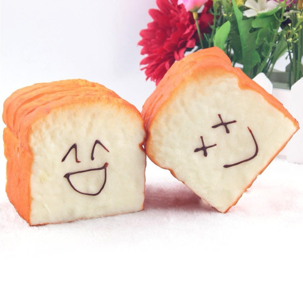1 Pc <font><b>Kawaii</b></font> Squeeze Toast Bread Slow Rising Smile Face <font><b>Phone</b></font> <font><b>Holder</b></font> Scent Soft Bun Charms Food Collectibles Squeeze Squish Toys
