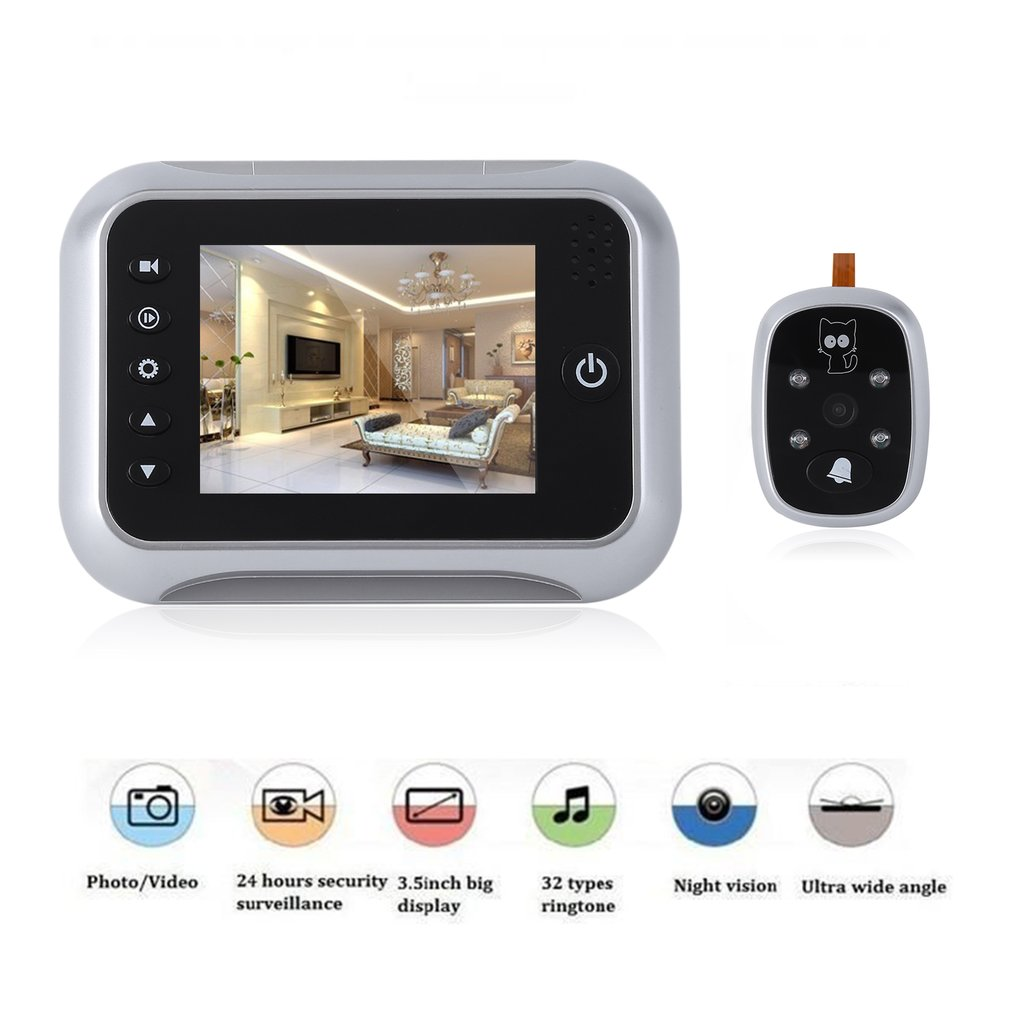 цена на 3.5 Inch  LCD Color Screen Doorbell Viewer Digital Door Peephole Viewer Camera Door Eye Video record 120 Degrees Night Vision