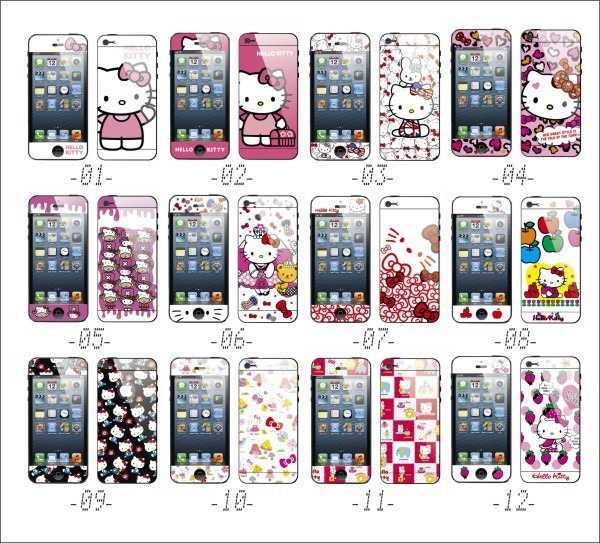 Hot Sale Hello Kitty Front And Back Color Screen Protector Guard For Iphone5 5g Mobile Phone