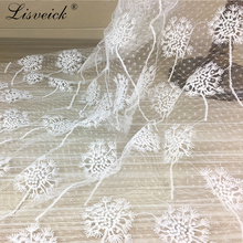 1yard Dandelion flower sequins Embroidery Lace Fabric Width 125CM Wedding Dress DIY skirt Clothing Accessories