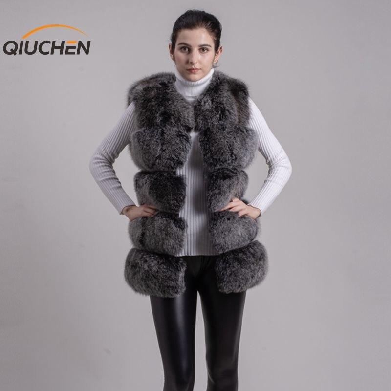 QIUCHEN PJ8047 2018 nouveauté livraison gratuite qualité supérieure renard veste en fourrure plus grand fourrures gilet de mode filles gilet