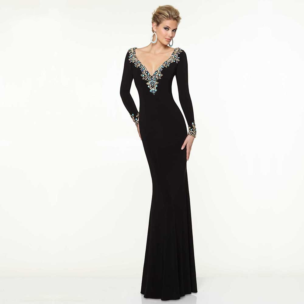 Ever New Sale Pretty Straight V neck Long Evening Dresses For Teens ...