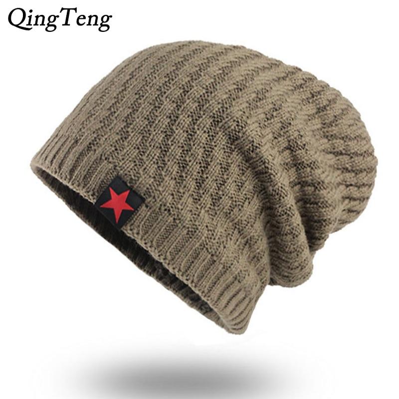 Red Star Winter   Beanie   Men New Velvet Bonnet Outdoor Ski   Skullies     Beanies   Wool Knitted Winter Hats Women Casual Gorros Dropshipp
