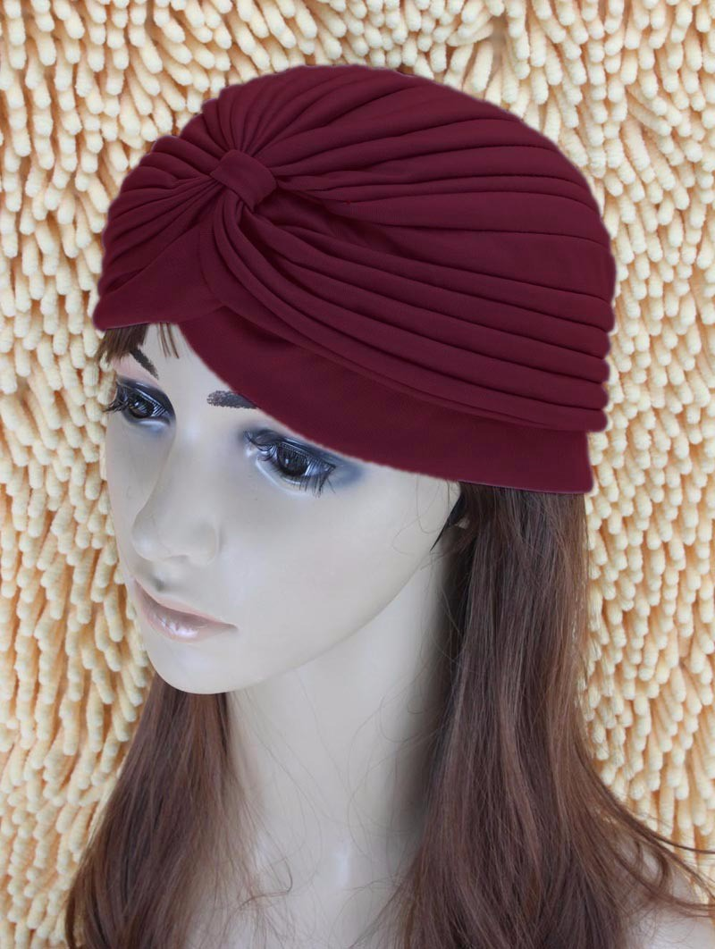 2016 New Fashion Women Turban Hat Bohemia 21 Solid Color Fold Beanies Female Simple Autumn Bonnet Indian Turban Hats For Women (31)