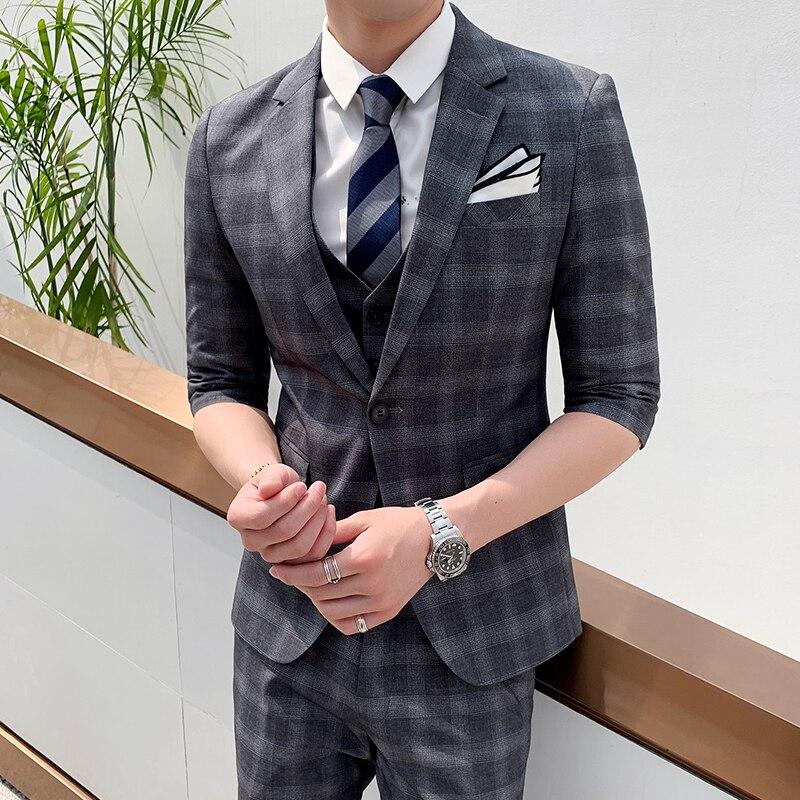 Мужской костюм, Весенний костюм, костюм джентльмена, бизнес, Корейская версия, костюм, брюки, двухсекционный комплект - 4