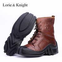 Botas militares tácticas de cuero genuino con cordones y calavera para hombre/motociclistas botas de motocicleta