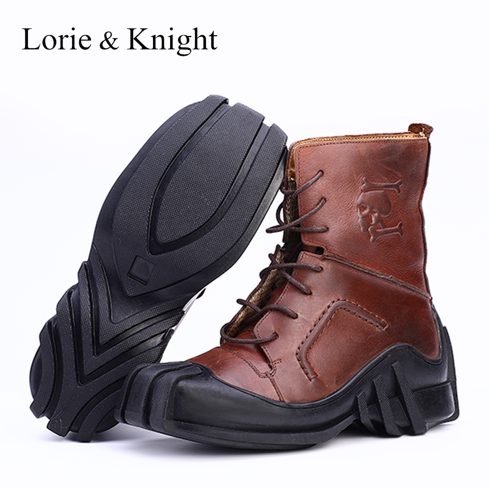 Men s Genuine Leather Lace up Skull Tactical Military Boots Bikers Motorcycle Boots