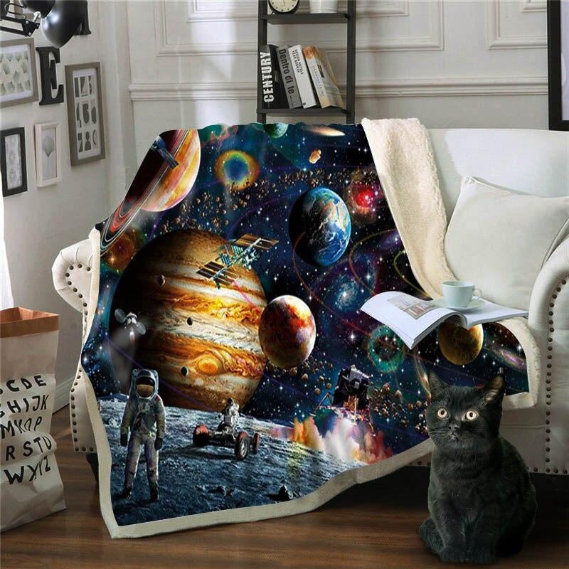 Couverture Premium astronaute spatial Mantas Para canapé Decorativa jeter couverture polaire Deken Frazadas De Cama d'invierno couverture De lit