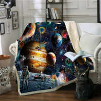 Manta Premium espacio astronauta Mantas Para sofá decorativo tiro Manta polar Deken Frazadas De Cama De Invierno Manta