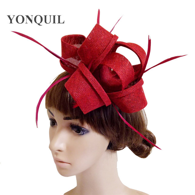 Imitation linen Fascinator Hats Wine Red Angel Pure Australian Women Ladies  Hat Black Cocktail Formal Race Derby Wedding Hats 33d6e495954