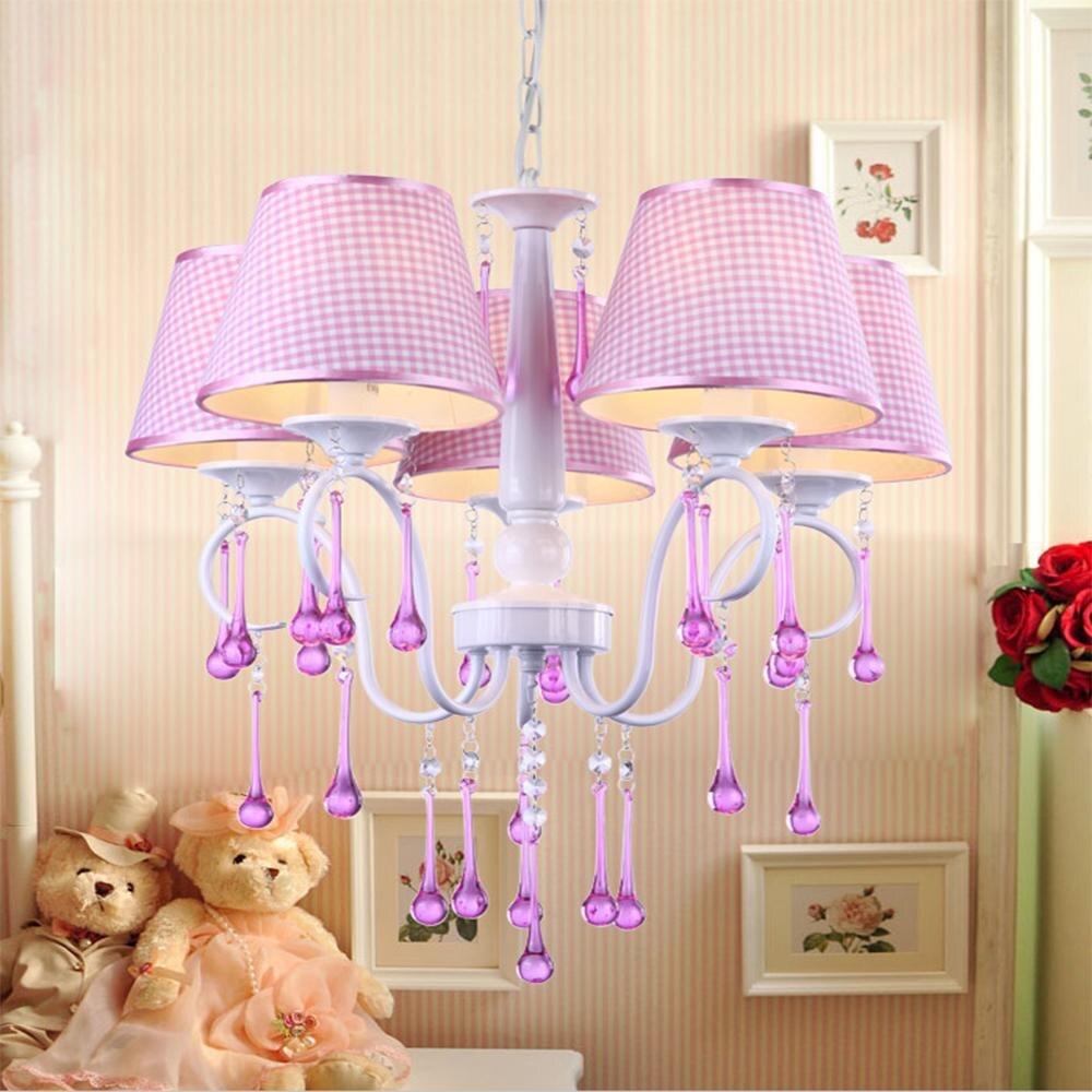 Top cartoon girl led chandeliers kids room lights modern crystal chandelier e14 110v 220v baby chandeliers for the bedroom in chandeliers from lights