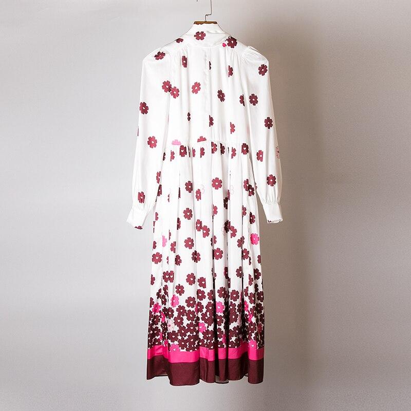 Empire Femmes Haute Col Midi Conception Blanc Rouge Automne Piste Pleine Floral Robe Qualité Casual De Robes Arc Manches 2018 Imprimé U7t6Wgn