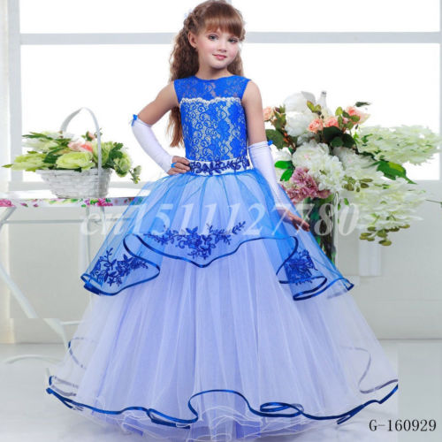 2017 blue lace white dress flower girl wedding dress Princess Birthday Pageant Gown Dance Prom Formal
