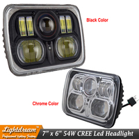 7x6 LED Headlights Black Crystal Clear Sealed Beam Headlamp For Firebird Celica Astro Corvette D150 D250