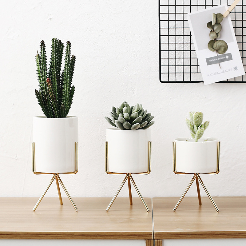 3 pcs/ensemble Style Nordique En Céramique Fleur Planteurs avec Fer Étagère Plante Succulente Pot Accueil Décoratif Vase de Fleurs or sans Trou