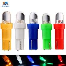 YM E-Bright 10 шт. T5 Белые, желтые, синие, красные, зеленые светодиодный ные лампы с клиновидным основанием для приборной панели, выпуклая линза, пр...