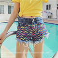 Sexy Colorful Wave Stripe Embroider Rough Selvedge Frazzle Tassels High Waist Women Denim Shorts Summer Casual Slim Shorts Jeans