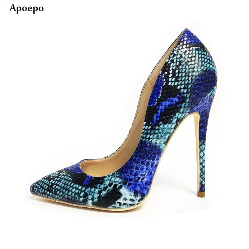 Apopeo Snake Printed Blue High Heels for Woman 12cm/10cm party shoes Sexy Pointed toe Thin Heels Dress Shoe Shallow Wedding Shoe bow wedding shoe for brides blue bowtie fashion luxury rhinestones party dress pumps shoe pr653 blue wedding shoes woman