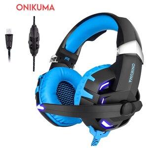 Игровая гарнитура ONIKUMA K2 7,1, USB провод, сабвуфер, светодиодный светильник с микрофоном
