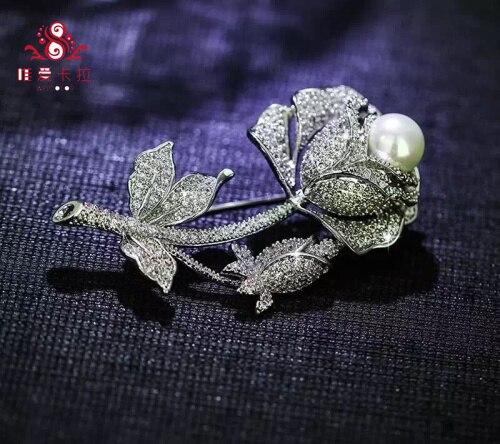 Роуз Брошь С 9-10 мм Водослива Круглый Природный Жемчуг Культивированный.