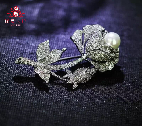 Rose Brooch WIth 9-10mm WaterDrop Round Natural Cultured Freshwater Pearl .
