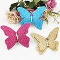 Nova 20 PCS Glitter Pérolas Decorado Borboleta Decoração do Ofício para a Princesa Menina Headband Do Cabelo Jóias DIY Botão Remendo Adesivo