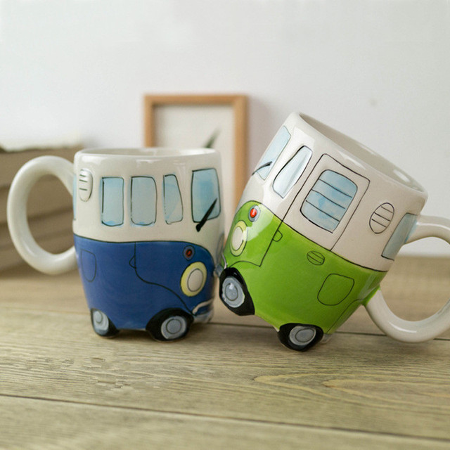 400ml Creative Hand Painting Double Bus Mugs Retro Ceramic Cup Coffee Milk Tea Mug Drinkware Novetly Gifts 4