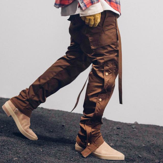 Men Side Snap Cargo Pants Hip Hop Slim Fit Ribboned Waistband Track Pants Black/Coffee