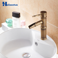 Antique Bathroom Bamboo Faucet Antique Bronze Finish Brass Basin Sink Faucet Single Handle Bamboo Water Tap