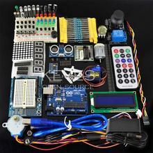 Starter Kit para ARDUINO uno r3 kit placa de ensaio e suporte do Motor de Passo/Servo/1602 LCD/jumper/UNO R3 Com Caixa de Varejo