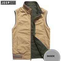 JEEP SPIRIT Autumn Cargo Jackets Vest Man Stand Collar Cotton Clothes Business Sleeveless Military Jackets Waistcoat 2 Side Wear