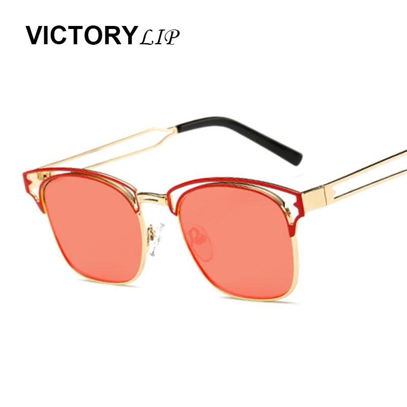 VictoryLip 2016 Quadrado Mulheres Espelho Óculos De Sol Da Marca Designer  Uv400 Pontos Meio Armação de Metal Do Vintage Óculos de Sol Olho Desgaste 1764a9dfe5