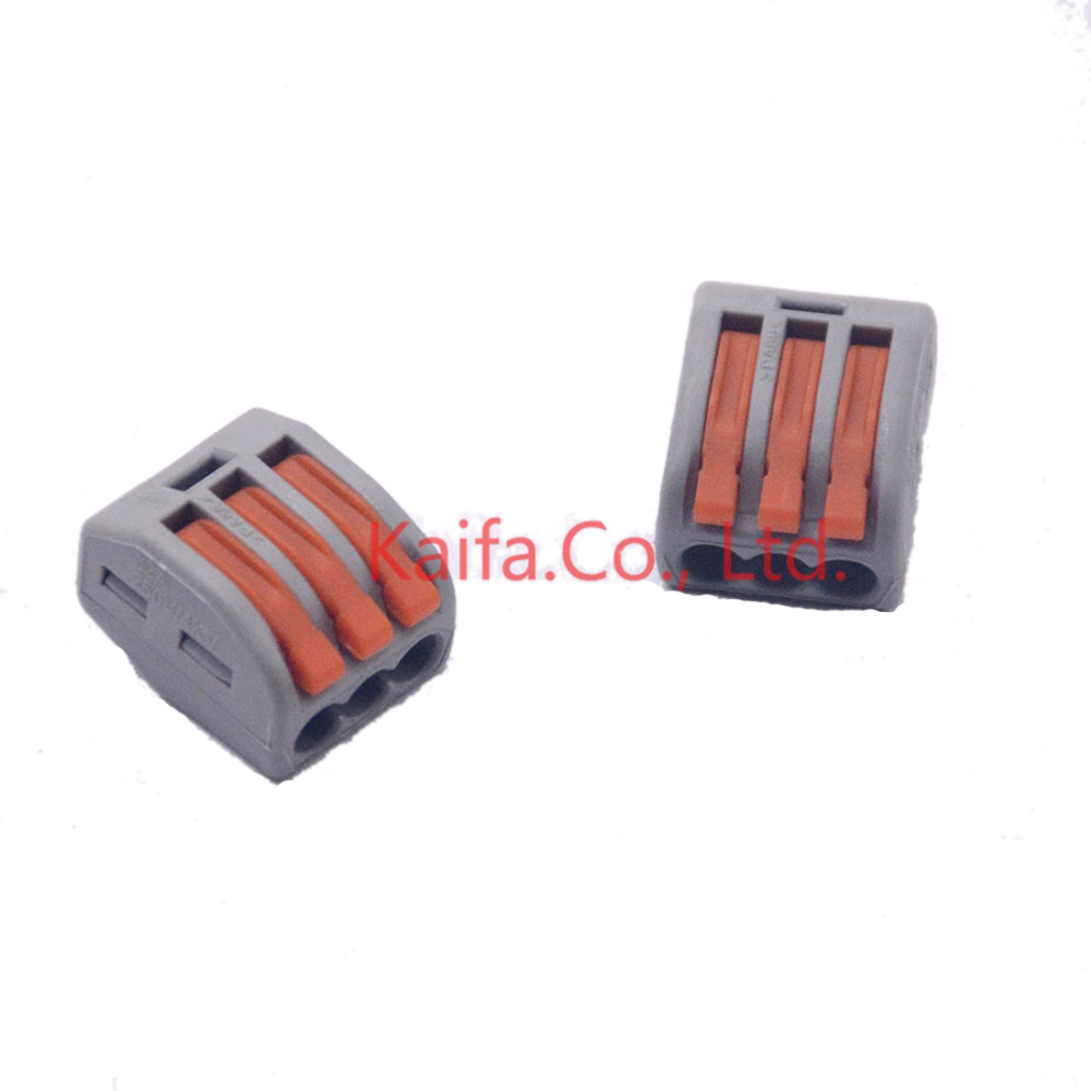 Wago Type (30 pieces/lot)   222-413 Universal Compact Wire Wiring Connector 3 pin Conductor Terminal Block With Lever AWG 28-12 570pcs lot terminales wire connector awg 570pcs lot assorted 9 value bootlace ferrule electrical crimp terminal
