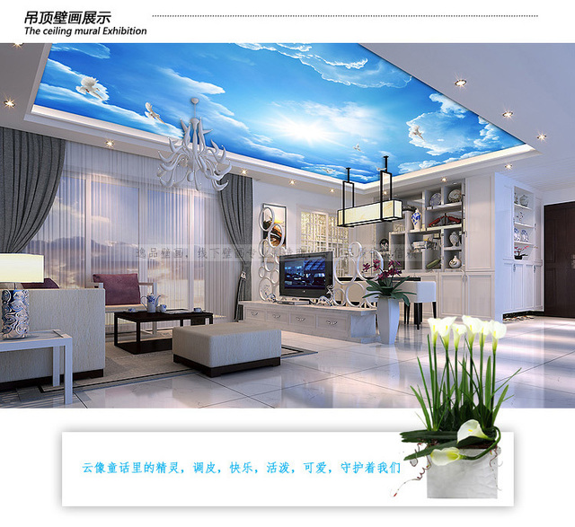 Grand Papier Peint Mural 3d Ciel Bleu Plafond Papier Peint Peinture