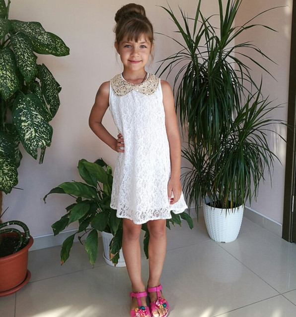 Dress Girl Princess 2016 Summer New Fashion Lace Sleeveless Girls Party Dress Sequin Collar Beautiful Kids Clothes Girls 2967W
