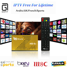 Lebenslange Kostenlose IPTV HDWorld F6 DVB-S2 Satellitenempfänger Europa Arabisch IPTV 1000 PayTV Kanal Freies Ewig KO Große Biene TV Box