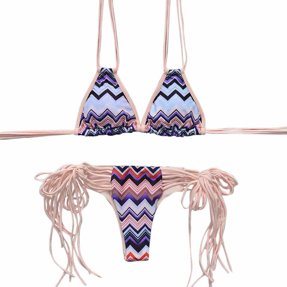 vintage tassel bikini 2017 sexy Pink swimsuit push up bikini set swimwear women bathing print women swims brasil tumblr C0912