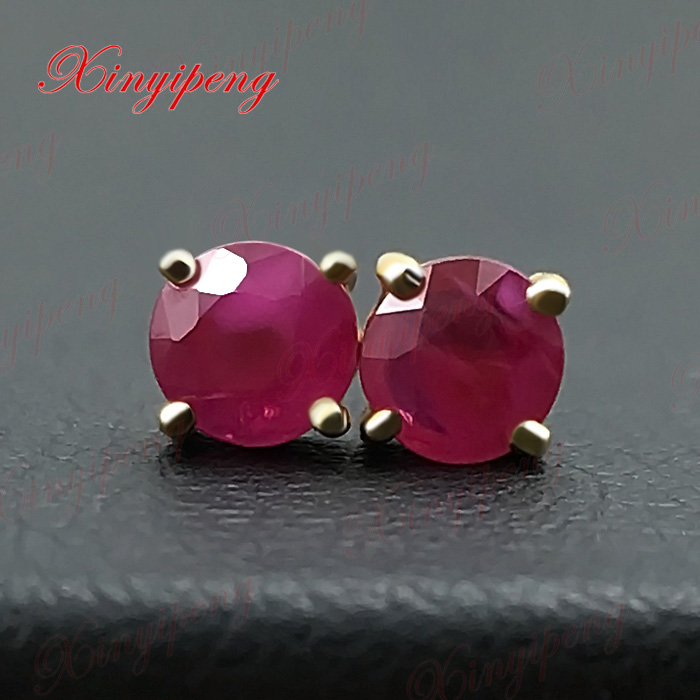 18 k yellow gold with 100% natural ruby studs earrings red color of fire Fine jewelry contracted 18 k gold natural ruby jewelry set