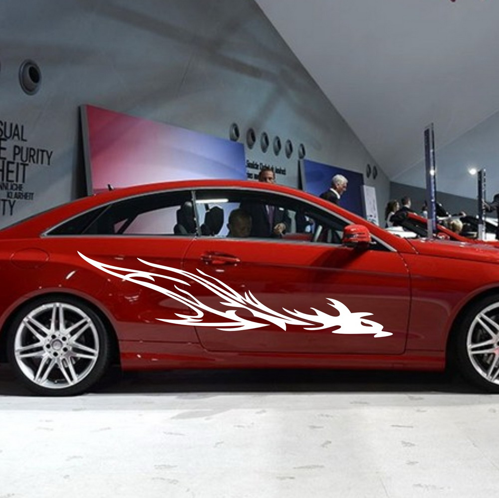 Car dragon flames tribal 81 door decals for e class vinyl side stickers zc162 in car