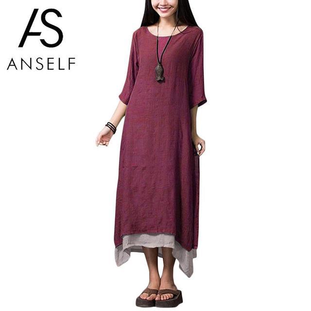 Anself בציר Vestidos נשים שמלה 2019 קיץ מקרית Loose O צוואר 3/4 שרוול רטרו ארוך מקסי שמלת 4XL 5XL בתוספת גודל שמלות
