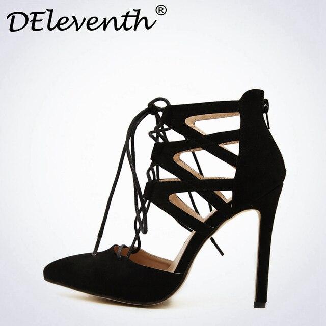 ac024ea49a0e Fashion Women s Sexy Criss Cross Lace-up Cutouts Pointed Toe High Heels  Shoes Back Zipper
